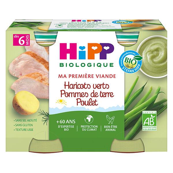 Hipp Bio Ma Première Viande Pot Haricots Verts Pommes de Terre Poulet +6m 2 x 190g