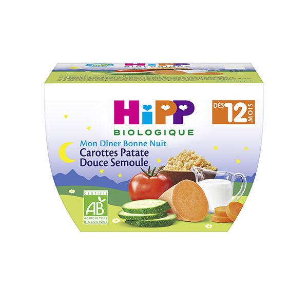 Hipp Bio Mon Dîner Bonne Nuit Assiette Carottes Patate Douce Semoule +12m 220g