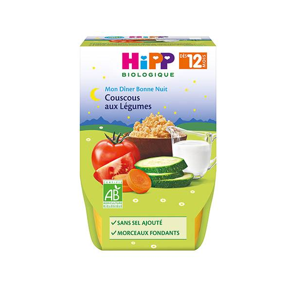 Hipp Bio Mon Dîner Bonne Nuit Couscous aux Légumes +12m Lot de 2 x 220g