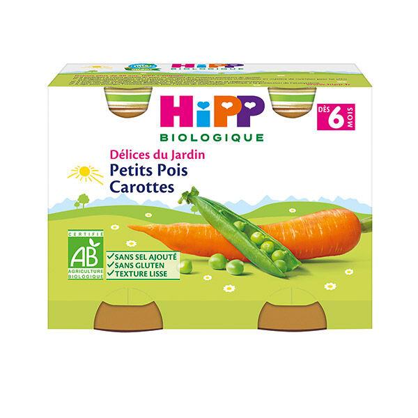 Hipp Bio Délices du Jardin Bio Petits Pois Carottes +6m Lot de 2 x 190g