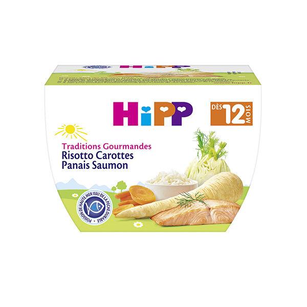 Hipp Bio Traditions Gourmandes Bol Risotto Carottes Panais Saumon +12m 220g