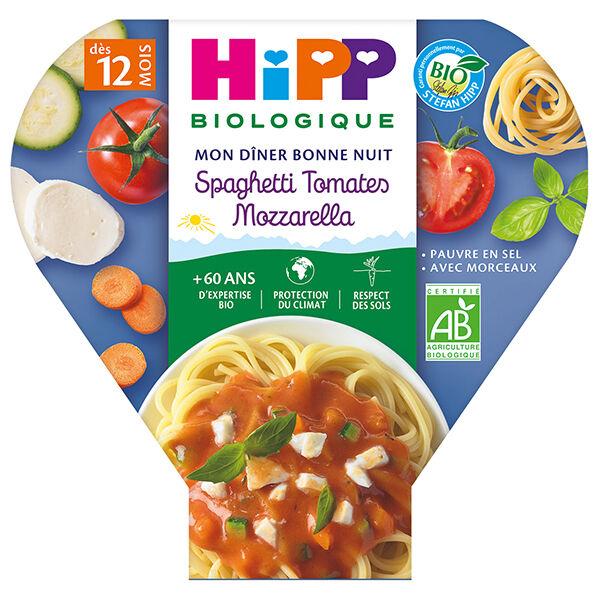 Hipp Bio Mon Dîner Bonne Nuit Assiette Spaghetti Tomates Mozzarella +12m 230g