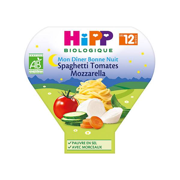 Hipp Bio Mon Dîner Bonne Nuit Bio Spaghetti Tomates Mozzarella +12m 230g