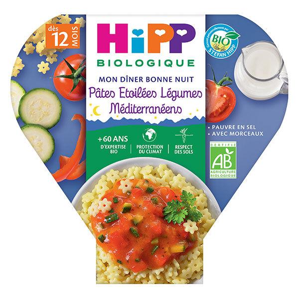 Hipp Bio Mon Dîner Bonne Nuit Assiette Pâtes Etoilées Légumes Méditerranéens +12m 230g