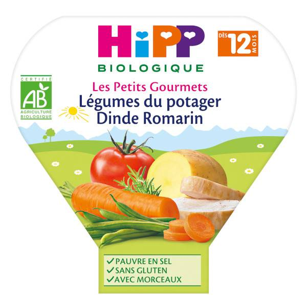 Hipp Bio Les Petits Gourmets Assiette Légumes du Potager Dinde Romarin +12m 230g