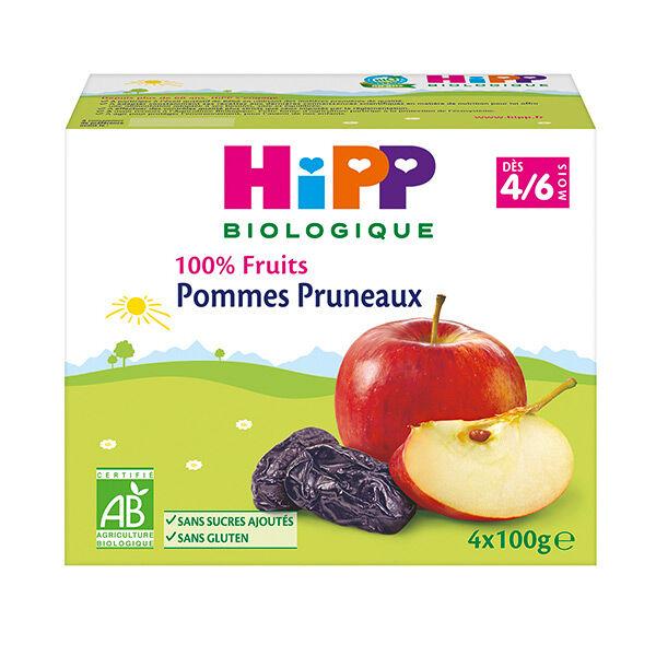 Hipp Bio 100% Fruits Coupelle Pommes Pruneaux +4m 4 x 100g