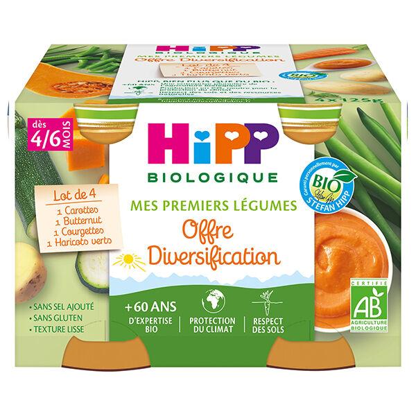 Hipp Bio Mes Premiers Légumes Pot Carottes Haricots Verts Courgettes Potiron +4m 4 x 125g