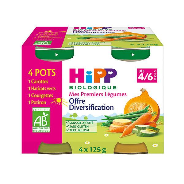 Hipp Bio Mes Premiers Légumes Carottes, Haricots Verts, Courgettes, Potiron 4-6m Lot de 4 x 125g