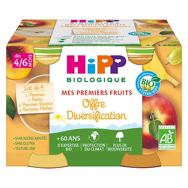 Hipp Bio Mes Premiers Fruits Pot Diversification Pommes Poires Bananes Pêches Pommes Raisins +4m 4 x 125g