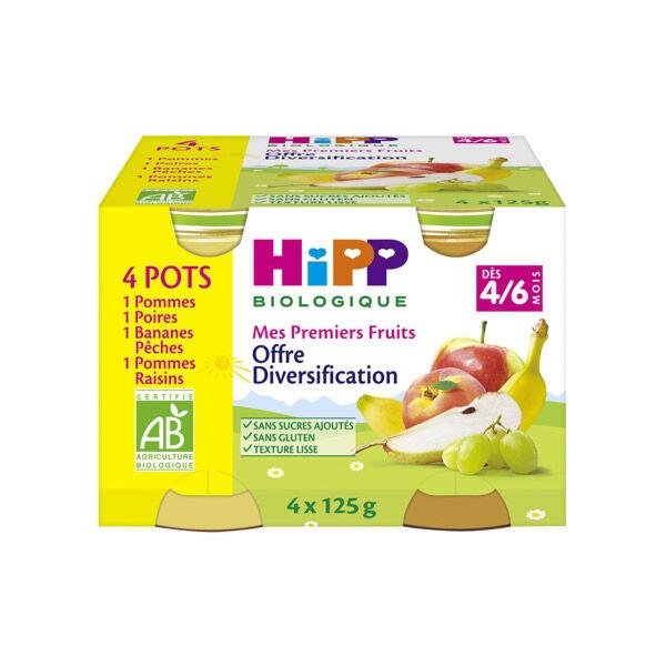 Hipp Bio Mes Premiers Fruits Diversification Pommes, Poires, Bananes Pêches, Pommes Raisins 4-6m Lot de 4 x 125g