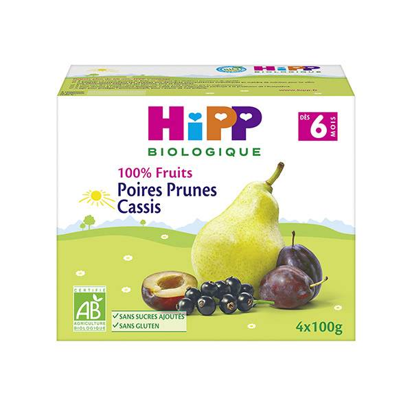 Hipp Bio 100% Fruits Coupelle Poires Prunes Cassis +6m Lot de 4 x 100g
