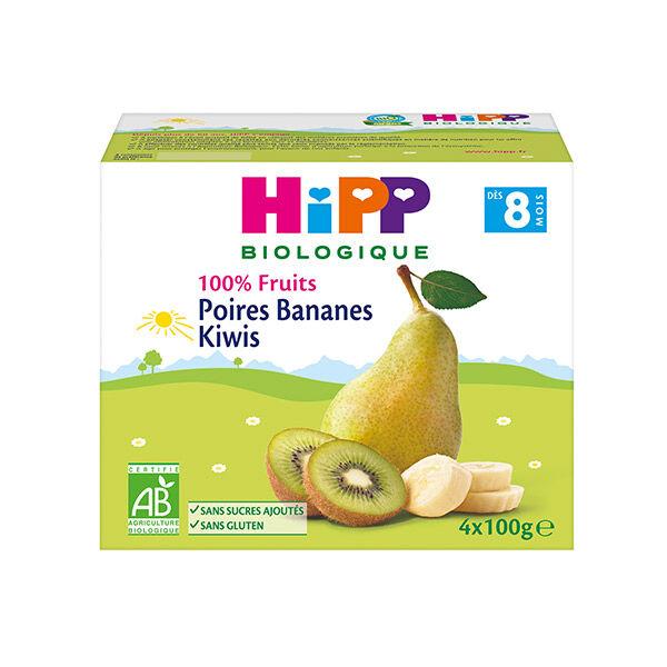 Hipp Bio 100% Fruits Coupelle Poires Bananes Kiwis +8m Lot de 4 x 100g