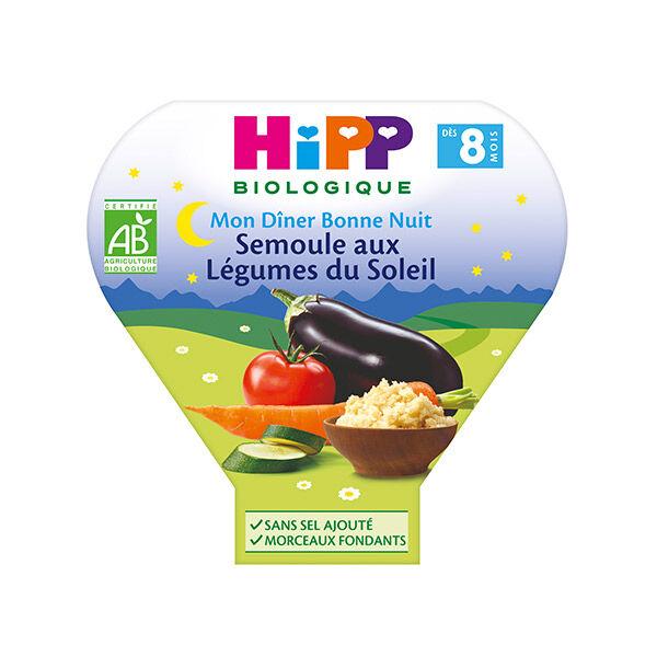 Hipp Bio Mon Dîner Bonne Nuit Assiette Semoule aux Légumes du Soleil +8m 200g