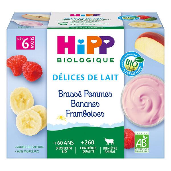 Hipp Bio Délices de Lait Brassé Pommes Bananes Framboises +6m 4 x 100g
