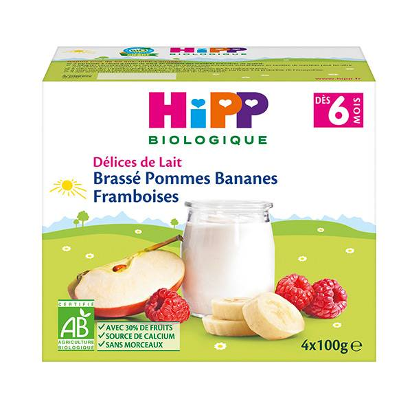 Hipp Bio Brassé Pommes Bananes Framboises +6m 4 x 100g