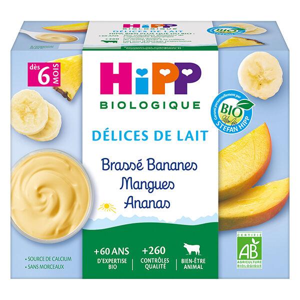 Hipp Bio Délices de Lait Brassé Bananes Mangues Ananas +6m 4 x 100g