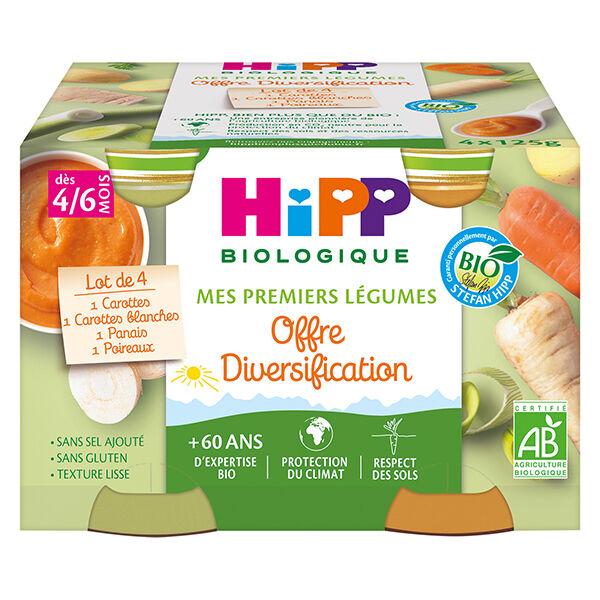 Hipp Bio Mes Premiers Légumes Pot Carottes Carottes Blanches Panais Poireaux +4m 4 x 125g