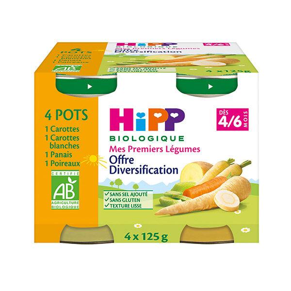 Hipp Bio Mes Premiers Légumes Carottes, Carottes Blanches, Panais, Poireaux 4-6m Lot de 4 x 125g