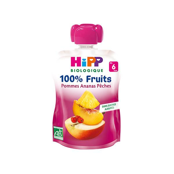 Hipp Bio 100% Fruits Gourde Pommes, Ananas, Pêches +6m 90g