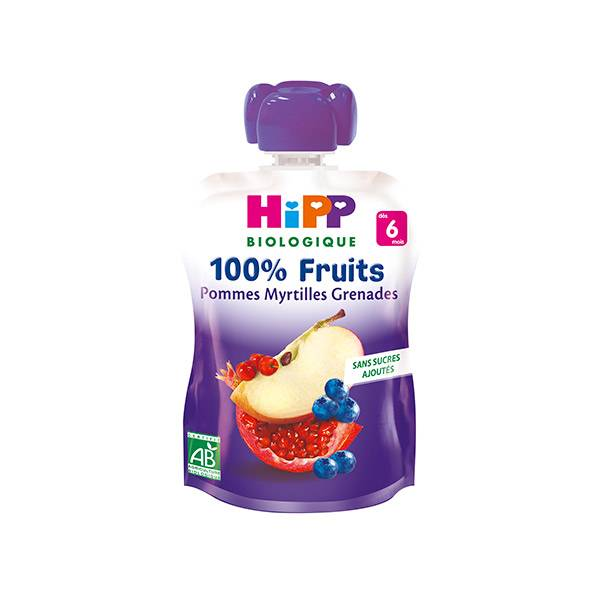 Hipp Bio 100% Fruits Gourde Pommes, Myrtilles, Grenades +6m 90g