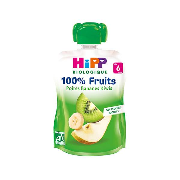 Hipp Bio 100% Fruits Gourde Poires Bananes Kiwis +6m 90g