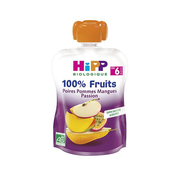 Hipp Bio 100% Fruits Gourde Poires, Pommes, Mangue, Passion +6m 90g