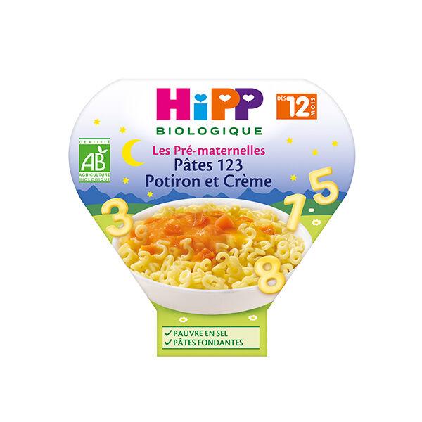 Hipp Bio Les Pré-Maternelles Assiette Pâtes 123 Potiron et Crème +12m 230g