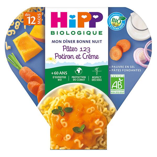 Hipp Bio Mon Dîner Bonne Nuit Assiette Pâtes 123 Potiron et Crème +12m 230g