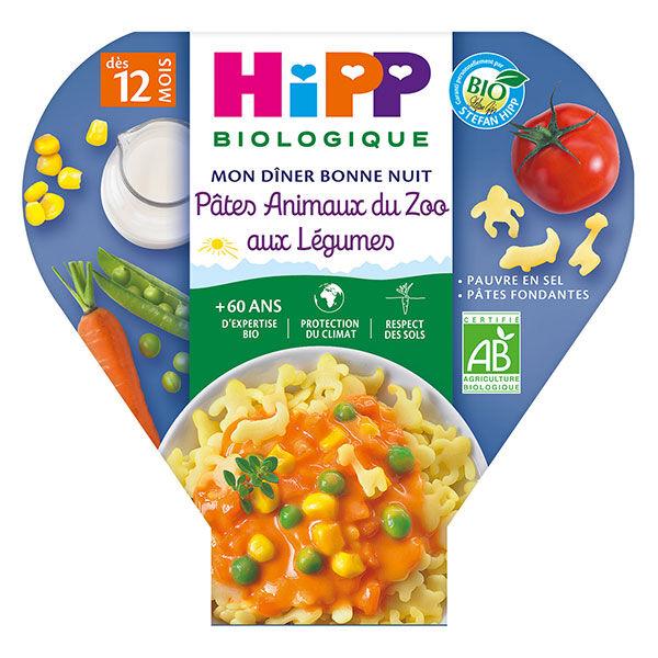 Hipp Bio Mon Dîner Bonne Nuit Assiette Pâtes Animaux du Zoo aux Légumes +12m 230g