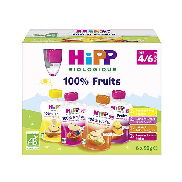 Hipp Bio 100% Fruits Gourde Multipack 4 variétés 4-6m Lot de 8 x 90g