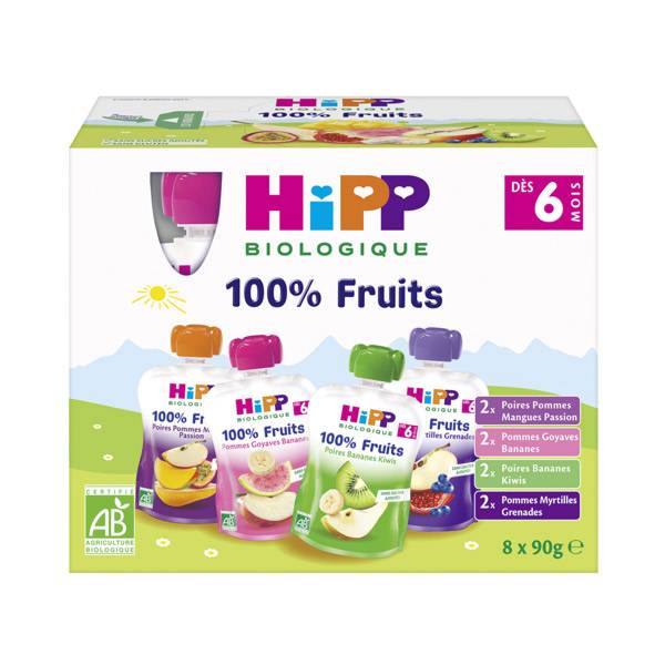 Hipp Bio 100% Fruits Gourde Multipack 4 variétés +6m Lot de 8 x 90g