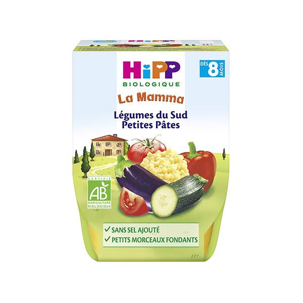 Hipp Bio La Mamma Bio Légumes du Sud Petites Pâtes +8m Lot de 2 x 190g