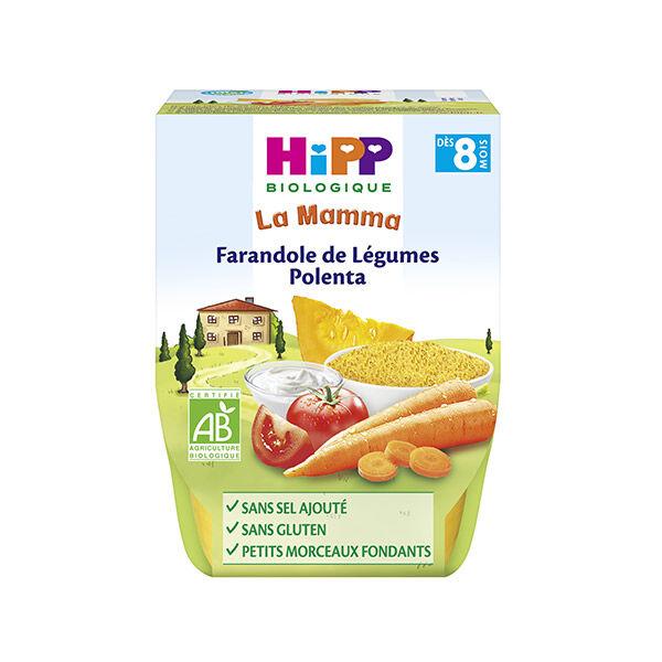Hipp Bio La Mamma Bio Farendole de Légumes Polenta +8m Lot de 2 x 190g