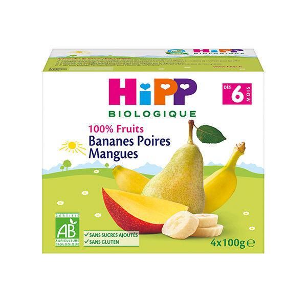 Hipp Bio 100% Fruits Coupelle Bananes Poires Mangues +6m Lot de 4 x 100g