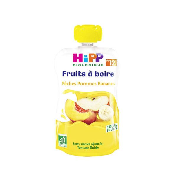 Hipp Bio Fruits à Boire Gourde Pêches Pommes Bananes +12m 120ml