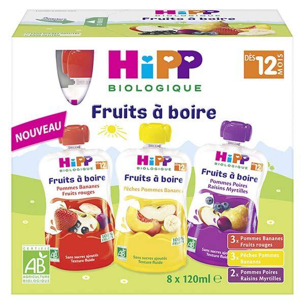 Hipp Bio Fruits à Boire Gourde Multipack 3 Variétés +12m Lot de 8 x 120ml