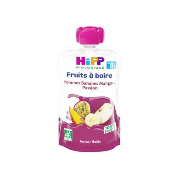 Hipp Bio Gourde Fruits à Boire Pommes Bananes Mangues Passion +8m 90ml