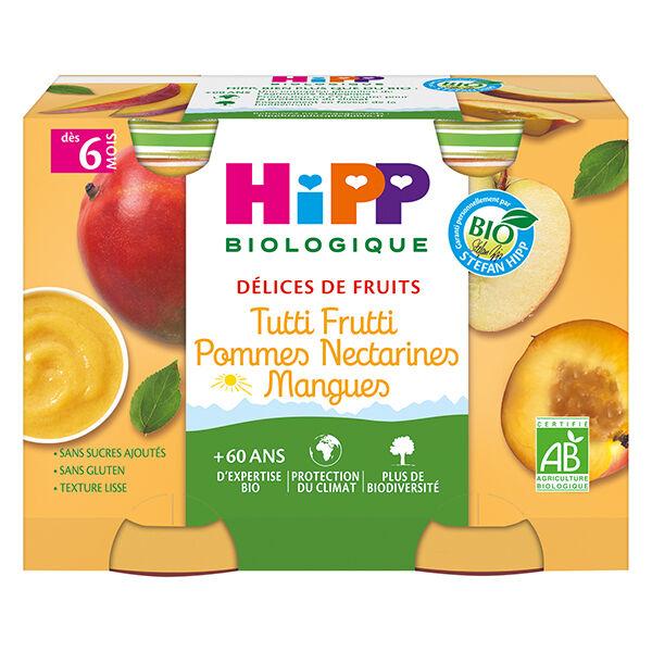 Hipp Bio Délices de Fruits Pot Tutti Frutti Pommes Nectarines Mangues +6m 2 x 190g