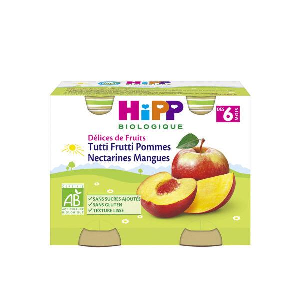 Hipp Bio Délices de Fruits Tutti Frutti Pommes Nectarines Mangues +6m 2 x 190g