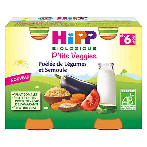 Hipp Bio P'tits Veggies Pot Poêlée de Légumes et Semoule +6m 2 x 190g