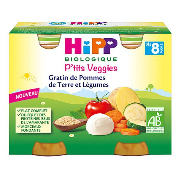 Hipp Gratin de Pommes de Terre et Légumes Bio 2x190g