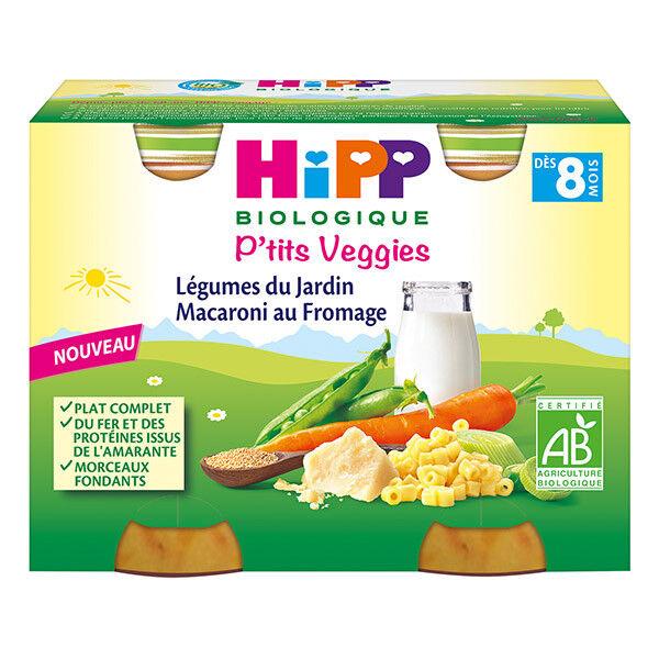 Hipp Bio Mon Dîner Bonne Nuit Pot Légumes du Jardin Macaroni au Fromage +8m 2 x 190g