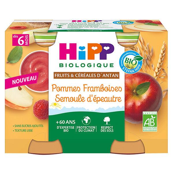Hipp Fruits et Céréales Pommes Framboises Semoule d'Epeautre +6m Pot 2 x 190g
