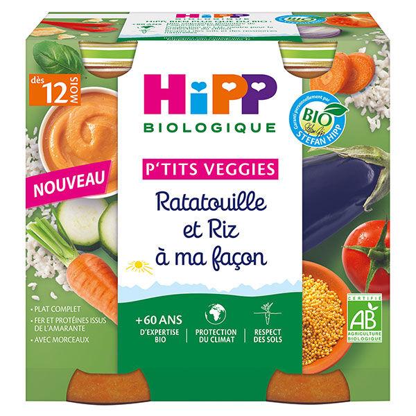 Hipp P'tits Veggies Ratatouille et Riz à ma Façon +12m 2 x 250g