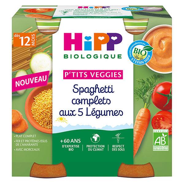Hipp P'tits Veggies Spaghetti Complets aux 5 Légumes +12m 2 x 250g