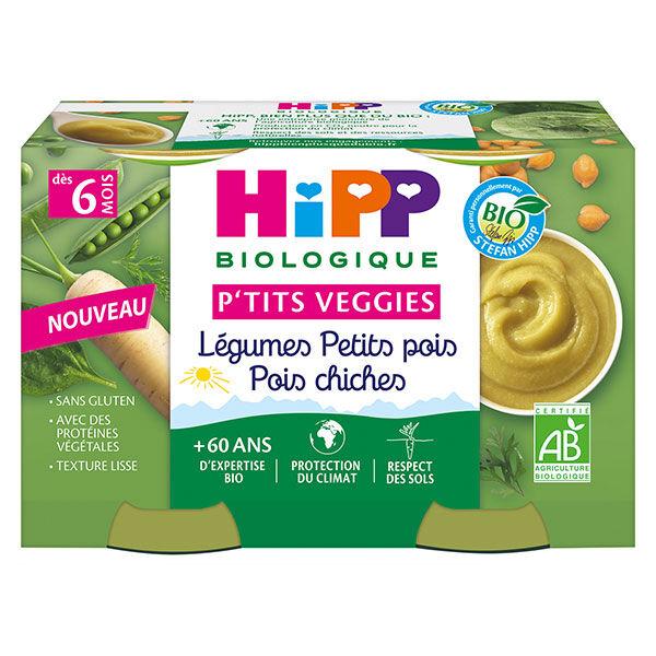 Hipp P'tits Veggies Légumes Petits Pois Pois Chiches +6m 2 x 125g
