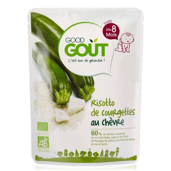 Good Goût Plat Risotto de Courgettes au Chèvre +8m Bio 190g