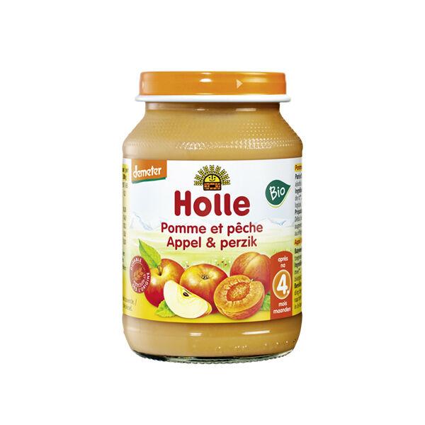 Holle Petit Pot Pomme Pêche Bio +4m 190g