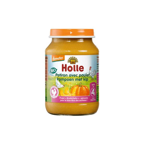 Holle Petit Pot Potiron avec Poulet Bio +4m 190g