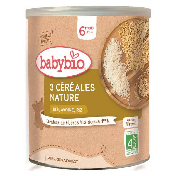 Babybio Mes Céréales Pot Nature Blé Avoine Riz +6m Bio 220g